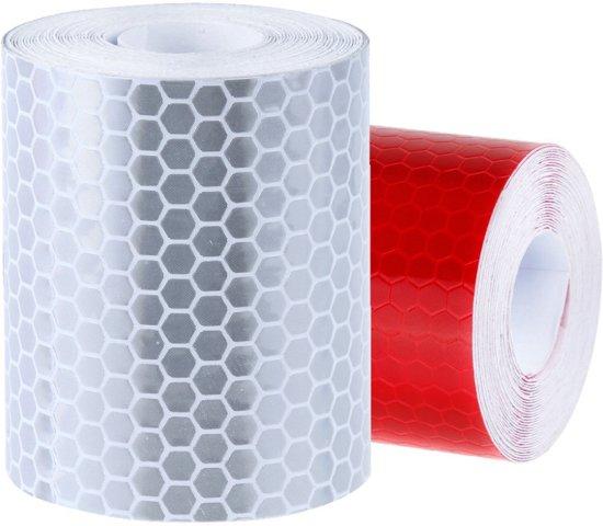 Reflecterend Tape klasse 1 -Zelfklevend - 2 rollen (wit + rood) - 5cm breed - 300cm lang/rol