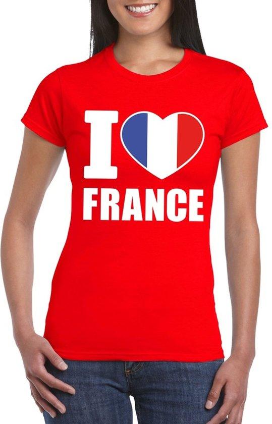 Rood I love Frankrijk fan shirt dames M