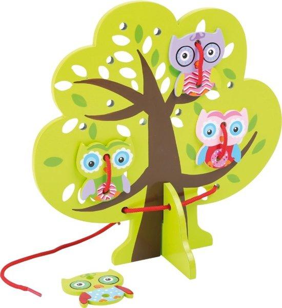 Houten rijgspel boom met uilen