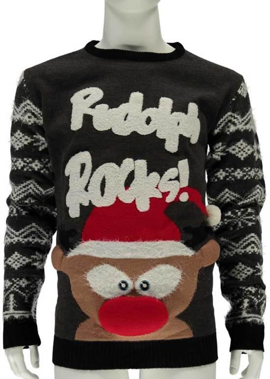 Rode Kersttrui Heren.Bol Com Foute Kersttrui Heren Rudolph Rocks Maat M