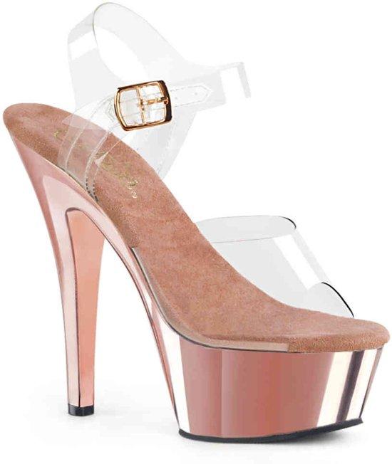 KISS-208 (EU 40 = US 10) 6 Heel, 1 3/4 Chrome Plated PF Ankle Strap Sandal