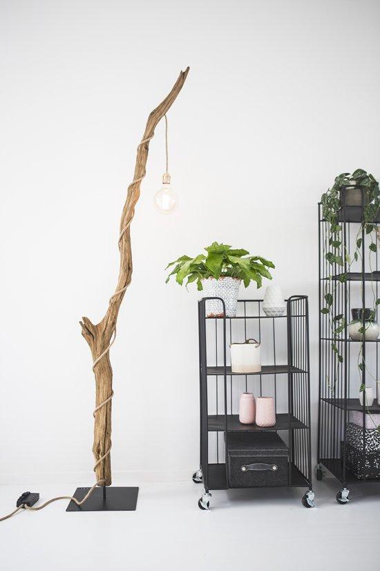 bol | houten staande lamp met kooldraad gloeilamp