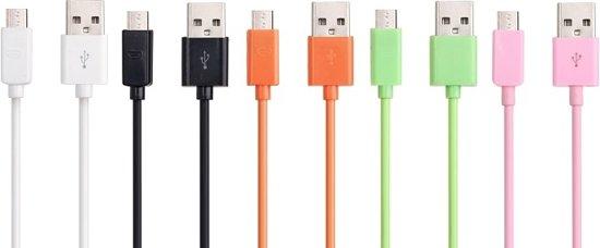 5x Micro USB-kabel Archos   70 Xenon, Archos   97 Platinum HD. Lengte 12 centimeter kleuren-combi.