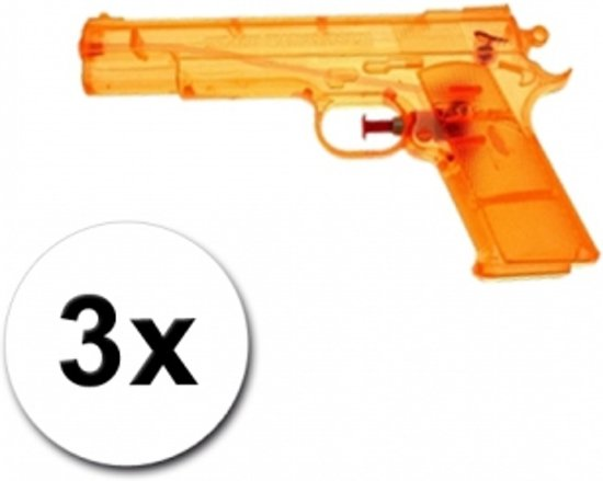 3 speelgoed waterpistolen oranje 20 cm