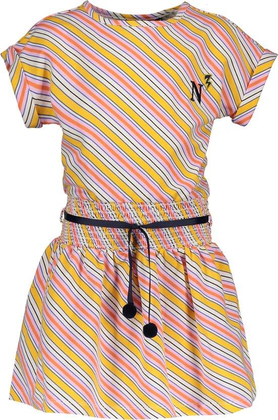 NONO Meisjes Jurkje Moos met diagonale strepen - geel - Maat 122/128
