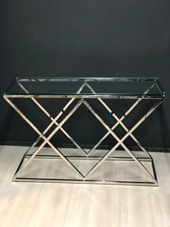 Sidetable Rvs Glas.Bol Com Luxuryliving Rosa Sidetable Chroom