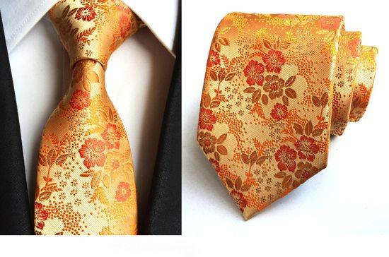 Luxe Stropdas Special Edition Colorful 100 Zijde Oranje Bloem Cadeau