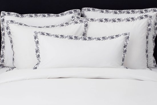 Flamant Home Linen Mix&Match - Dekbedovertrek - 240 x 200/220 cm - Wit / Paisley Charcoal