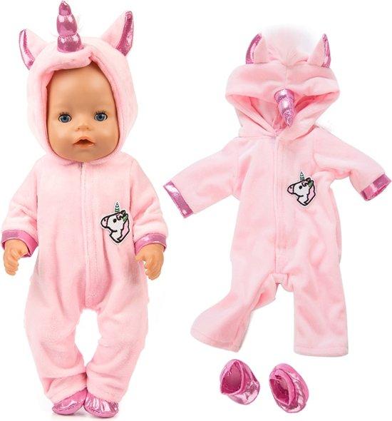 Poppenkleding - Roze eenhoorn onesie voor poppen met lengte tot 43 cm