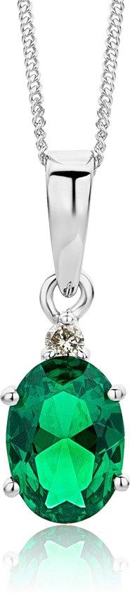 Majestine 9 Karaat Ketting Witgoudkleurig (375) met Gecreëerde Emerald en Diamant 0.02ct - 45cm