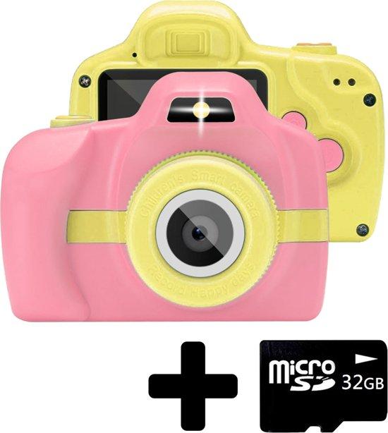 Afbeelding van BTH Kindercamera Kids Kinder Camera + 32GB Geheugenkaart Roze / Geel speelgoed