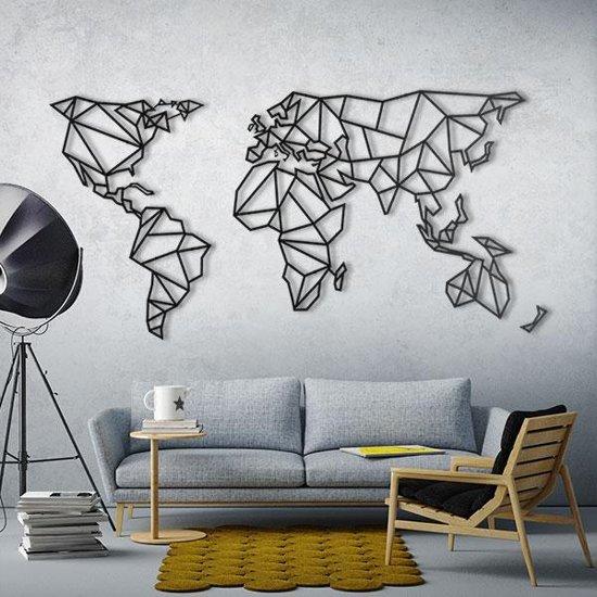 Wanddecoratie Wereldkaart Metaal.Bol Com Metalen Wereldkaart Zwart Xxxl Extra Groot Metal World