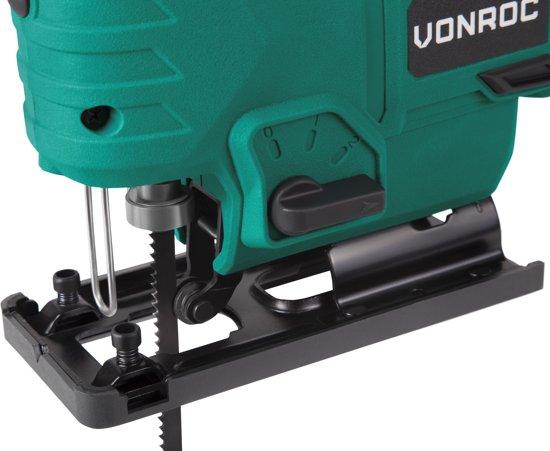 VONROC Accu Decoupeerzaag VPower 20V  (zonder accu) – Incl. zaagbladen, parallelgeleider en opbergtas