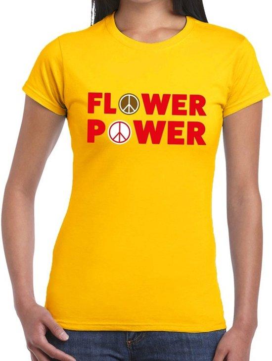 Flower power tekst t-shirt geel voor dames 2XL