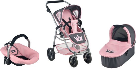 Koets - Poppenwagen 3 in 1 - Kroon