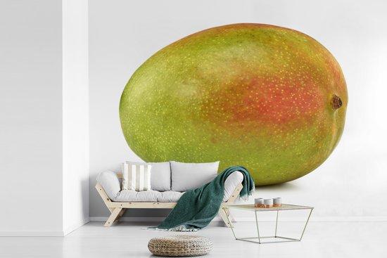 Fotobehang vinyl - Groene en oranje mango op witte achtergrond breedte 690 cm x hoogte 500 cm - Foto print op behang (in 7 formaten beschikbaar)