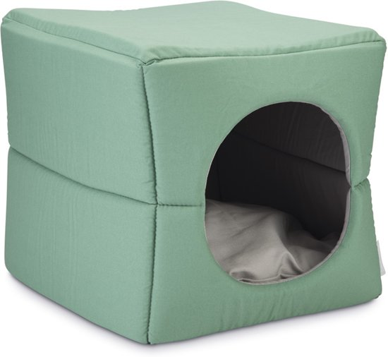 Beeztees Boxi - Kattenhuis - Groen/grijs - 37x33x33 cm