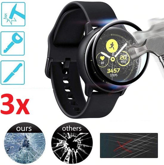 Full Cover 3D Edge Screen Protector Cover Case Bumper Hoes Voor Samsung Galaxy Watch Active 2 44mm - Beschermkap Beschermhoes Screenprotector - Tempered Glass - Set Van 3 Stuks