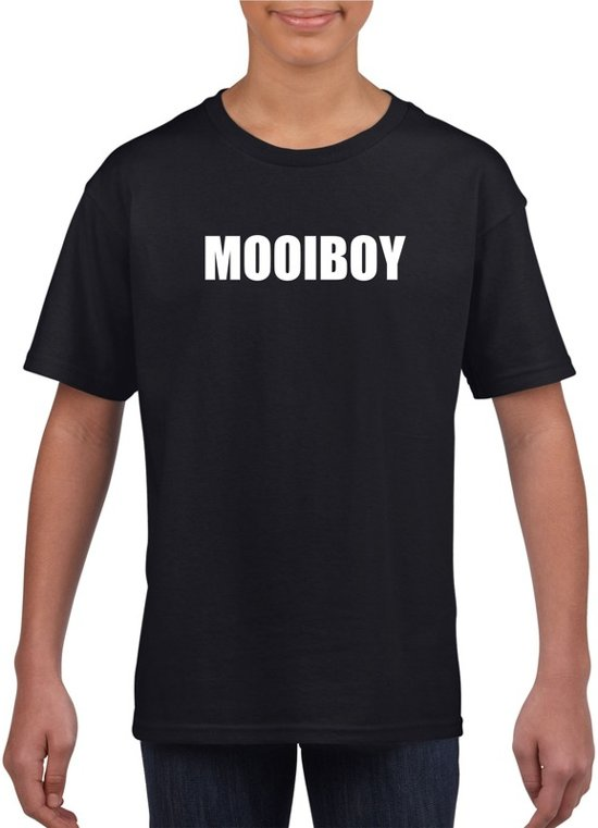 Mooiboy tekst t-shirt zwart kinderen M (134-140)