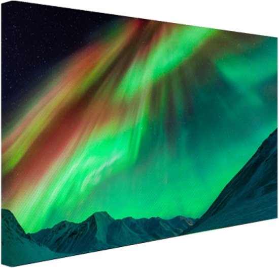 Gigantisch noorderlicht in Alaska Canvas 120x80 cm - Foto print op Canvas schilderij (Wanddecoratie)