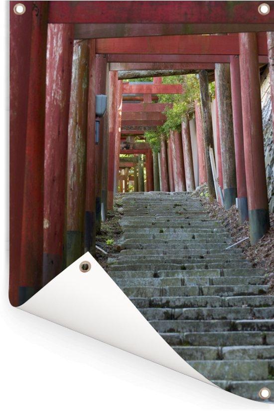 Torii-poorten en stenen trappen bij het Japanse Koyasan Tuinposter 120x180 cm - Tuindoek / Buitencanvas / Schilderijen voor buiten (tuin decoratie) XXL / Groot formaat!