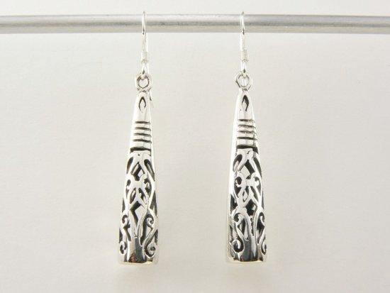 lange zilveren oorbellen