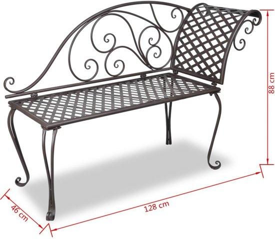 vidaXL Chaise longue 128 cm staal antiek bruin