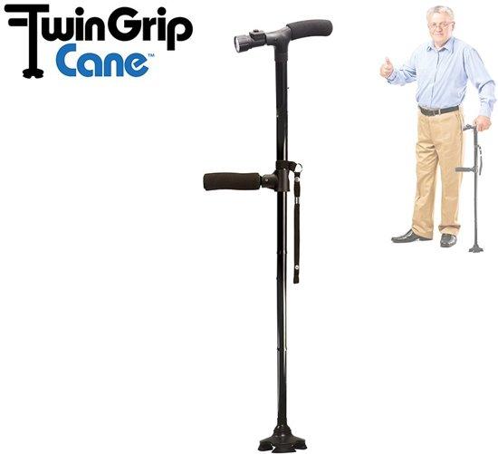 Perfect Cane Twin Grip Wandelstok Orange Donkey - Met verlichting - Extra stabiliteitsvoet - Senior Choice nr 1 - Inklapbaar - Optreksteun