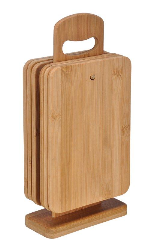 Haushalt Bamboe Snijplanken Set - 6-delig - Met standaard - Hout