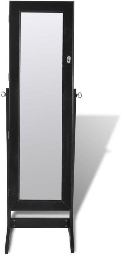 Sieradenkast met LED-lamp en spiegeldeur - Zwart