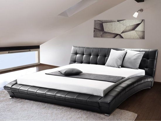 bol beliani lille bed leer zwart 160x200 cm