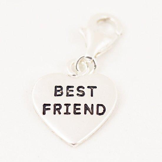 Zilveren Hart best friend armband bedel