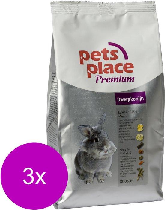 Pets Place Dwergkonijn Luxe Menu Premium - Konijnenvoer - 3 x 800 g