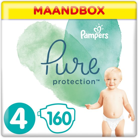 Pampers Pure Protection - Maat 4 (Maxi) 9-14kg - Maandbox 160 Stuks - Luiers