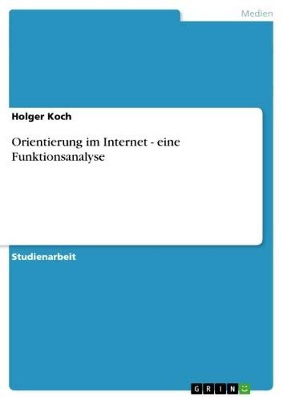 Orientierung im Internet - eine Funktionsanalyse