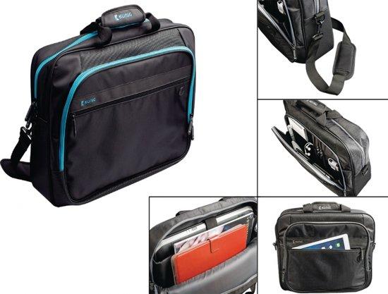 Dell Chromebook 11 Luxe laptoptas met hoofdtelefoon doorgang en extra veel opbergvakken, 13-14 inch schoudertas/messenger met laptopvak van maximaal ca. 340 x 290 mm, zwart , merk i12Cover in Nuenen