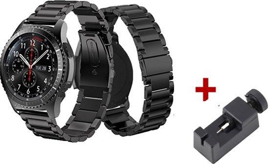 RVS Band Voor Samsung Gear S3 Classic / Frontier - Armband / Polsband / Strap Band Sportbandje - Zwart