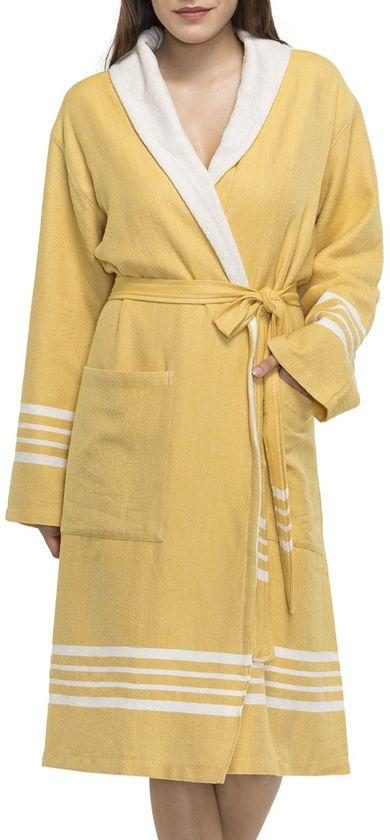 730bafcbd7d Hamam badjas - dames - heren - sauna badjas - badstof - sjaalkraag - unisex  - mosterd geel maat S