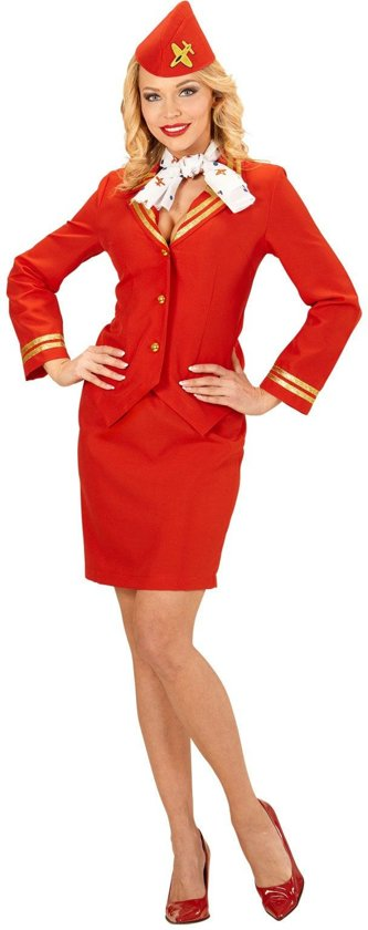 Stewardess Kostuum | Flying Red Stewardess | Vrouw | Medium | Carnaval kostuum | Verkleedkleding