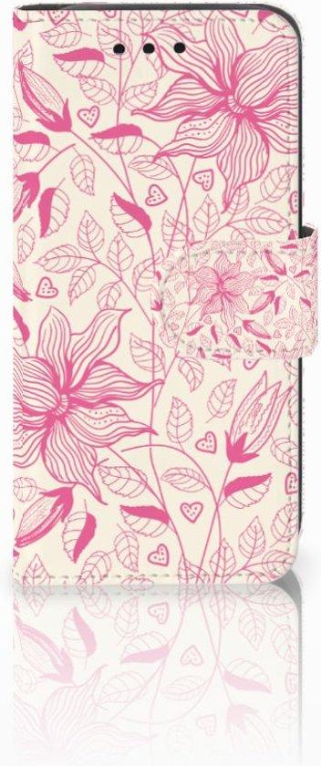 Samsung Galaxy S4 Mini i9190 Uniek Boekhoesje Pink Flowers