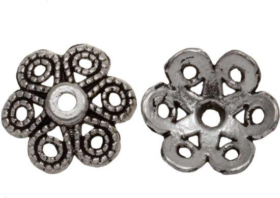 Beadcap (12 x 4 mm) 25 Stuks (Antiek Zilver)