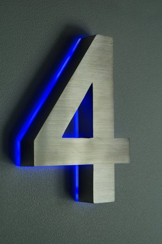 bol.com | Huisnummer met LED verlichting van RVS | Hoogte 20cm ...