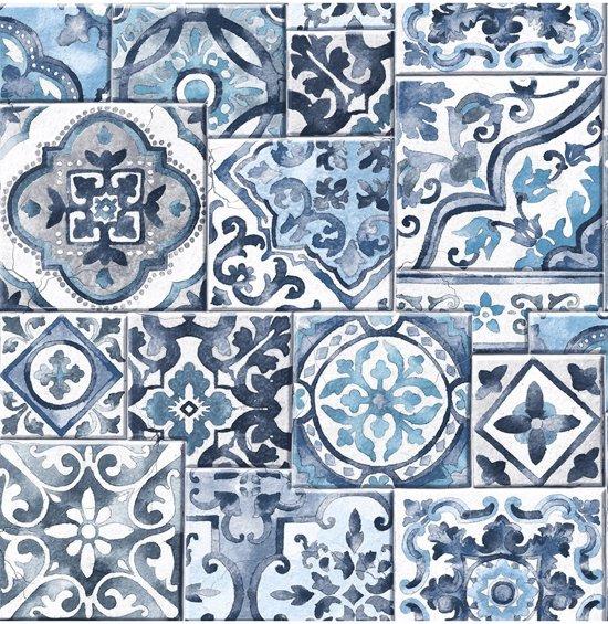 Reclaimed Marrakesh Tiles Blauw Wit Behang Vliesbehang Blauw