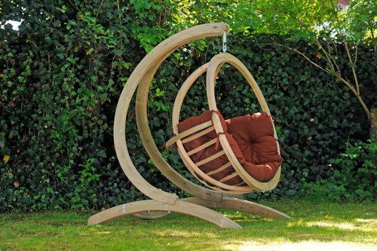 Amazonas Globo Chair Hangstoel - Terracotta kussens + Luxe Houten Standaard