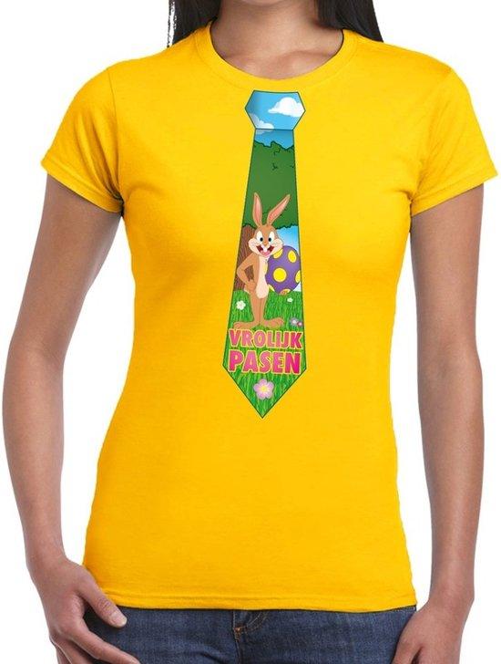 Geel Paas t-shirt met paashaas stropdas - Pasen shirt voor dames - Pasen kleding XL