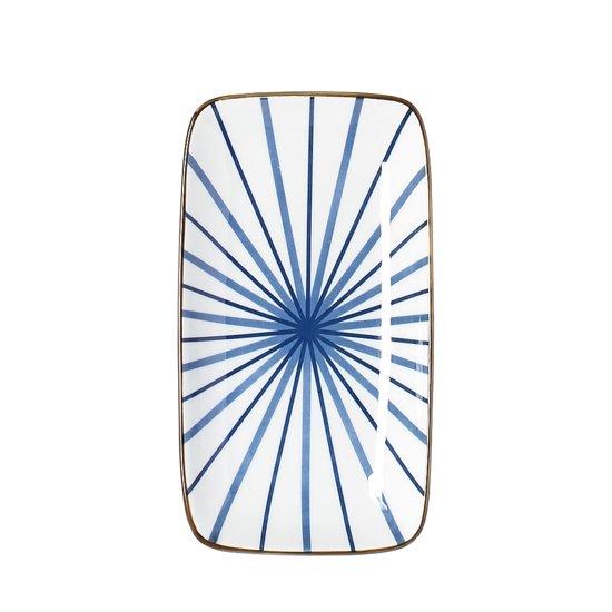 Riverdale Lines-Bord- Rechthoekig-Porselein-22cm-Blauw