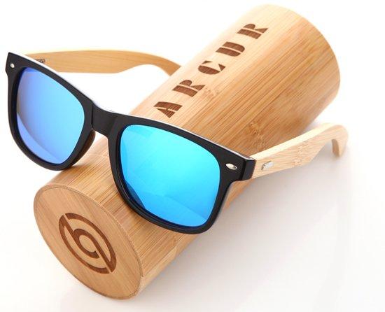 e3a248f9c64e96 Bamboe hout Wayfarer Zonnebril - Blauwe spiegellens