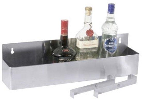 Flessenrek rvs   wandmontage   L: 56cm   H: 15cm   D: 10cm