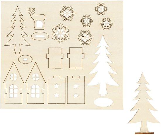 DIY Houten figuren, huis, bomen, hert, l: 15,5 cm, b: 17 cm, triplex, 1doos, dikte 3 mm