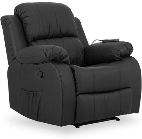 Fauteuil Roma Verstelbaar.Relaxfauteuil Relaxstoel Met Massagefunctie Verstelbare Rugleuning En Uitschuifbare Voetensteun Roma Serie Zwart